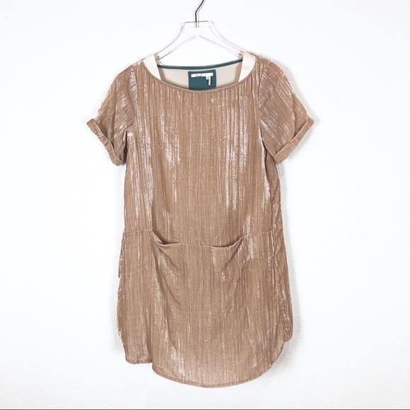 Anthropologie Dresses & Skirts - Floreat | Pearl colored velvet shift dress size xs
